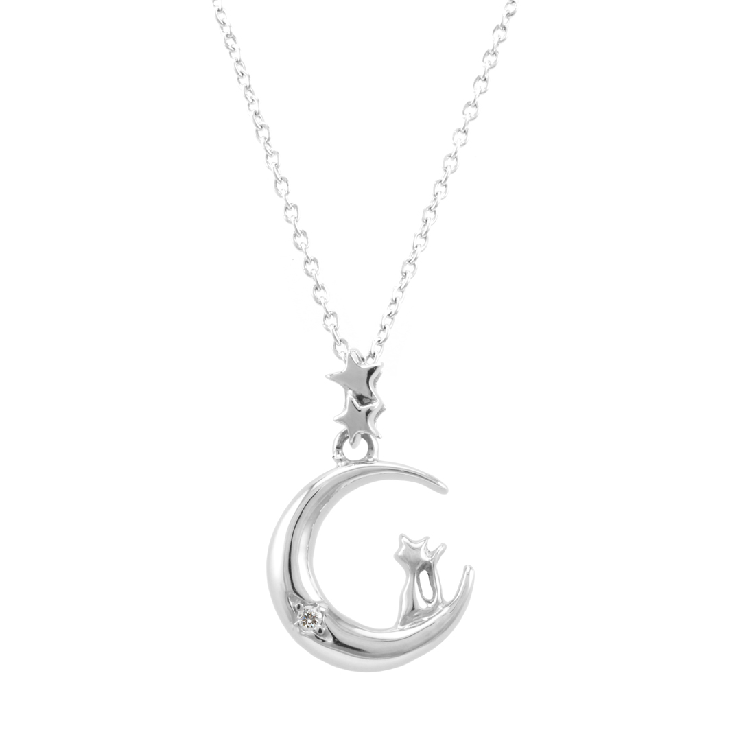 necklace and jewelry cz white with micro black bow cat silver oa sterling animal sitting bling pen pendant pave
